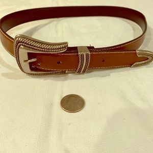 Brown Boho Western Belt Silver Buckle